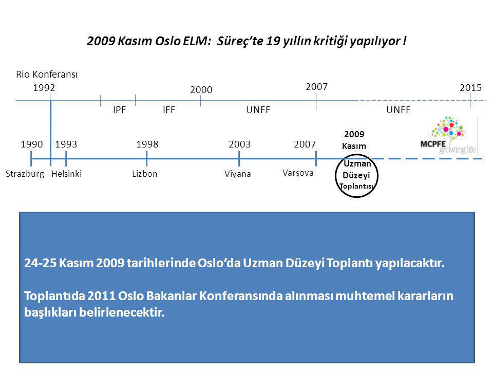 2009 Kasım Oslo ELM: Süreç'te 19 yıllın kritiği yapılıyor ! Rio Konferansı 1992 IPF 2000 IFF 2007 UNFF 2015 19931990199820032007 Strazburg HelsinkiLiz