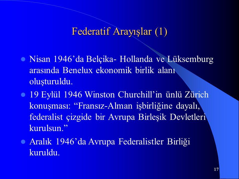 17 Federatif Arayışlar (1) Nisan 1946'da Belçika- Hollanda ve Lüksemburg arasında Benelux ekonomik birlik alanı oluşturuldu. 19 Eylül 1946 Winston Chu