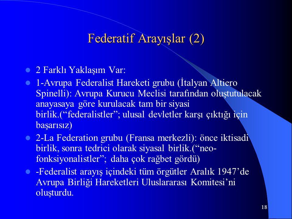 18 Federatif Arayışlar (2) 2 Farklı Yaklaşım Var: 1-Avrupa Federalist Hareketi grubu (İtalyan Altiero Spinelli): Avrupa Kurucu Meclisi tarafından oluş