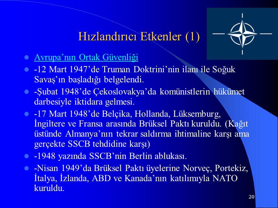 20 Hızlandırıcı Etkenler (1) Avrupa'nın Ortak Güvenliği -12 Mart 1947'de Truman Doktrini'nin ilanı ile Soğuk Savaş'ın başladığı belgelendi. -Şubat 194