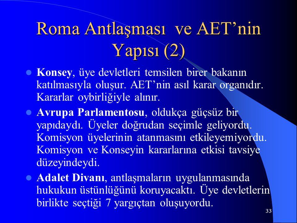 33 Roma Antlaşması ve AET'nin Yapısı (2) Konsey, üye devletleri temsilen birer bakanın katılmasıyla oluşur. AET'nin asıl karar organıdır. Kararlar oyb