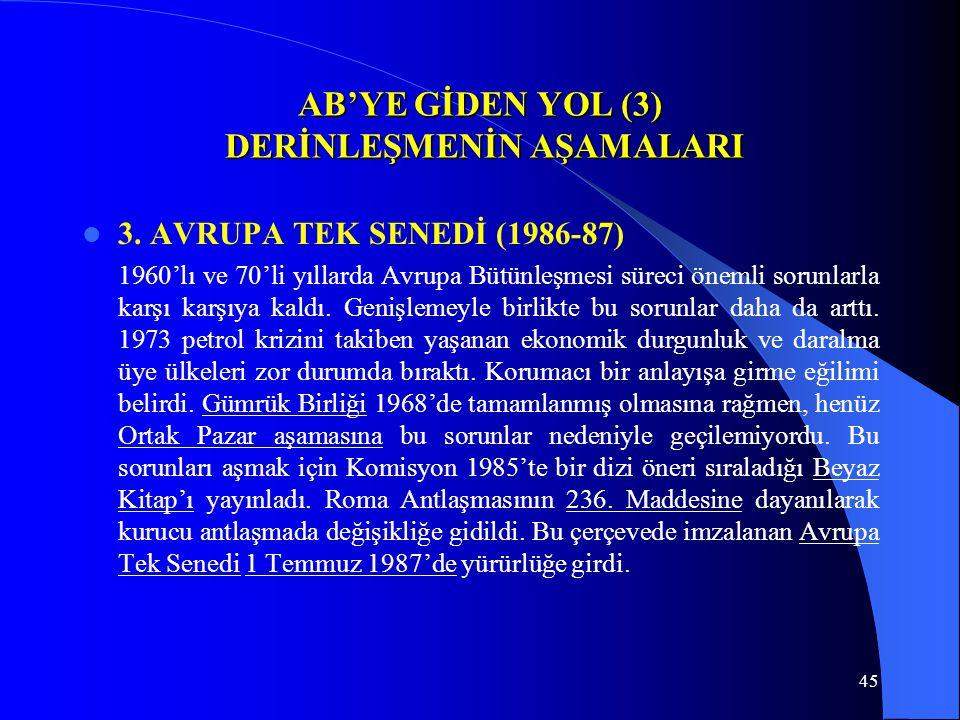 45 AB'YE GİDEN YOL (3) DERİNLEŞMENİN AŞAMALARI 3. AVRUPA TEK SENEDİ (1986-87) 1960'lı ve 70'li yıllarda Avrupa Bütünleşmesi süreci önemli sorunlarla k