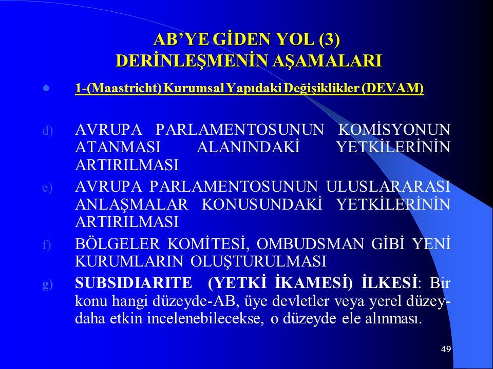 49 AB'YE GİDEN YOL (3) DERİNLEŞMENİN AŞAMALARI 1-(Maastricht) Kurumsal Yapıdaki Değişiklikler (DEVAM) d) AVRUPA PARLAMENTOSUNUN KOMİSYONUN ATANMASI AL