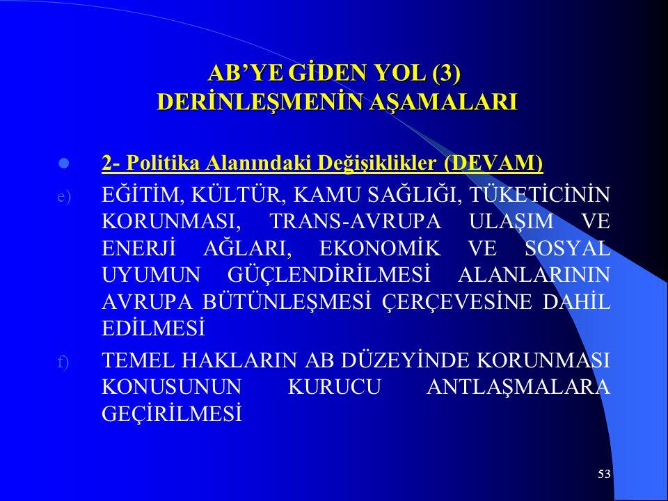 53 AB'YE GİDEN YOL (3) DERİNLEŞMENİN AŞAMALARI 2- Politika Alanındaki Değişiklikler (DEVAM) e) EĞİTİM, KÜLTÜR, KAMU SAĞLIĞI, TÜKETİCİNİN KORUNMASI, TR