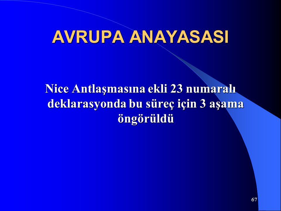 67 AVRUPA ANAYASASI Nice Antlaşmasına ekli 23 numaralı deklarasyonda bu süreç için 3 aşama öngörüldü