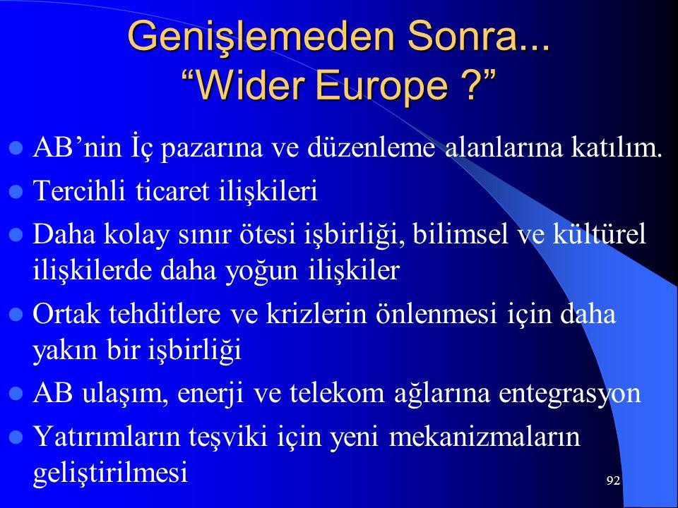 """92 Genişlemeden Sonra... """"Wider Europe ?"""" AB'nin İç pazarına ve düzenleme alanlarına katılım. Tercihli ticaret ilişkileri Daha kolay sınır ötesi işbir"""