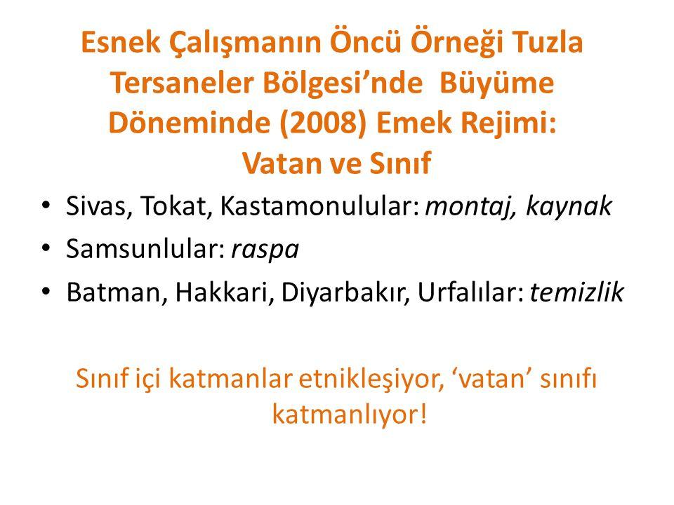 Esnek Çalışmanın Öncü Örneği Tuzla Tersaneler Bölgesi'nde Büyüme Döneminde (2008) Emek Rejimi: Vatan ve Sınıf Sivas, Tokat, Kastamonulular: montaj, ka