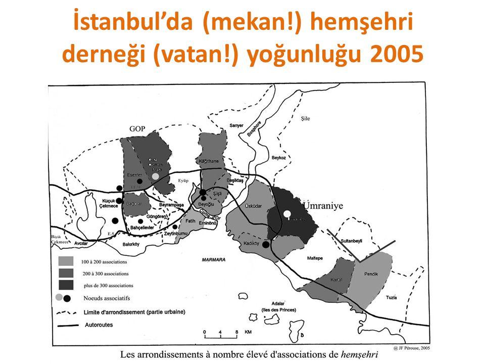 İstanbul'da (mekan!) hemşehri derneği (vatan!) yoğunluğu 2005