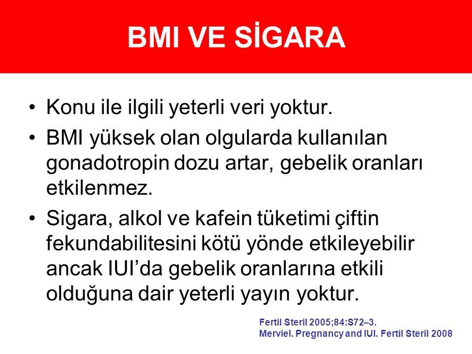 BMI VE SİGARA Konu ile ilgili yeterli veri yoktur. BMI yüksek olan olgularda kullanılan gonadotropin dozu artar, gebelik oranları etkilenmez. Sigara,