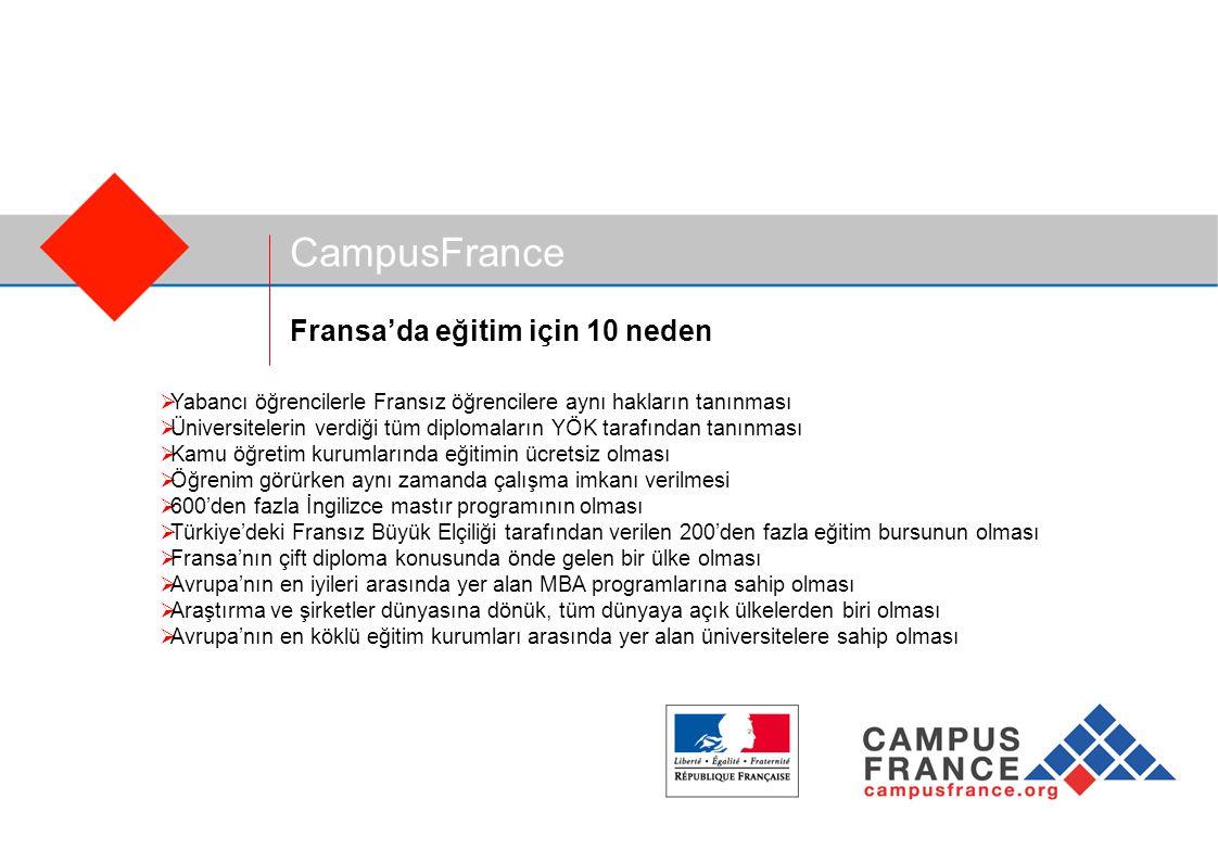 CampusFrance Fransa'da eğitim için 10 neden  Yabancı öğrencilerle Fransız öğrencilere aynı hakların tanınması  Üniversitelerin verdiği tüm diplomaların YÖK tarafından tanınması  Kamu öğretim kurumlarında eğitimin ücretsiz olması  Öğrenim görürken aynı zamanda çalışma imkanı verilmesi  600'den fazla İngilizce mastır programının olması  Türkiye'deki Fransız Büyük Elçiliği tarafından verilen 200'den fazla eğitim bursunun olması  Fransa'nın çift diploma konusunda önde gelen bir ülke olması  Avrupa'nın en iyileri arasında yer alan MBA programlarına sahip olması  Araştırma ve şirketler dünyasına dönük, tüm dünyaya açık ülkelerden biri olması  Avrupa'nın en köklü eğitim kurumları arasında yer alan üniversitelere sahip olması