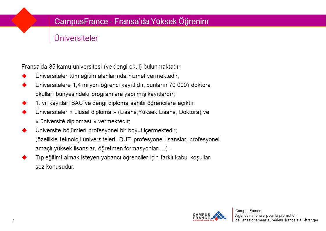 Üniversiteler CampusFrance Agence nationale pour la promotion de l'enseignement supérieur français à l'étranger CampusFrance - Fransa'da Yüksek Öğrenim Fransa'da 85 kamu üniversitesi (ve dengi okul) bulunmaktadır.