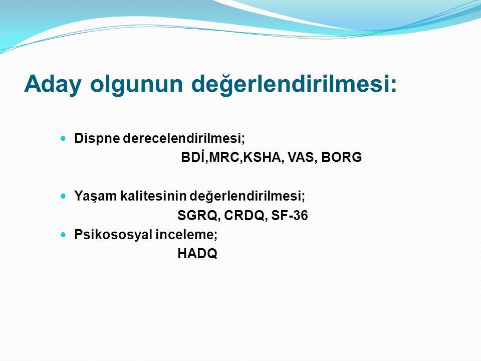 Aday olgunun değerlendirilmesi: Dispne derecelendirilmesi; BDİ,MRC,KSHA, VAS, BORG Yaşam kalitesinin değerlendirilmesi; SGRQ, CRDQ, SF-36 Psikososyal