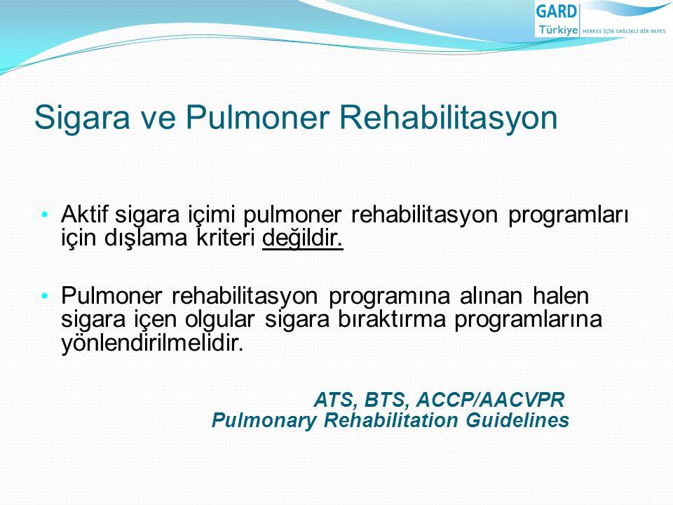 Sigara ve Pulmoner Rehabilitasyon Aktif sigara içimi pulmoner rehabilitasyon programları için dışlama kriteri değildir. Pulmoner rehabilitasyon progra