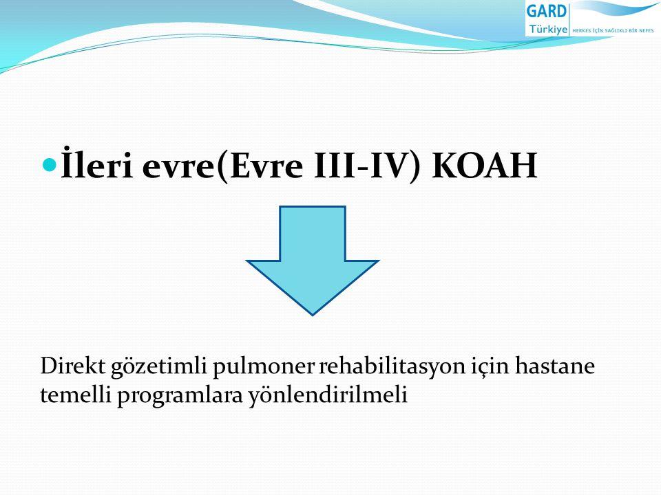 İleri evre(Evre III-IV) KOAH Direkt gözetimli pulmoner rehabilitasyon için hastane temelli programlara yönlendirilmeli