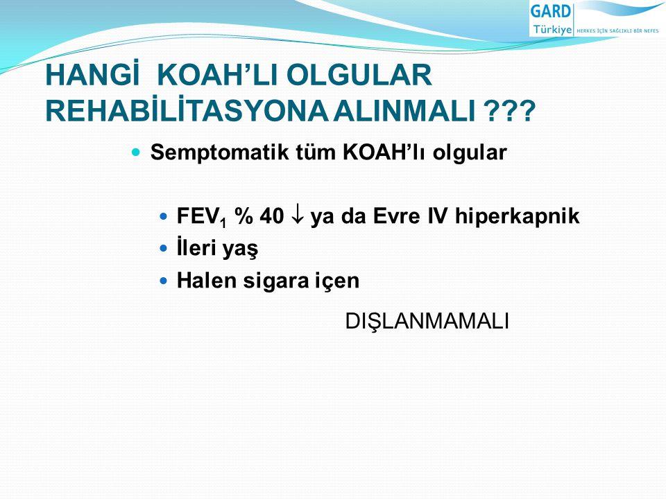 HANGİ KOAH'LI OLGULAR REHABİLİTASYONA ALINMALI ??? Semptomatik tüm KOAH'lı olgular FEV 1 % 40  ya da Evre IV hiperkapnik İleri yaş Halen sigara içen