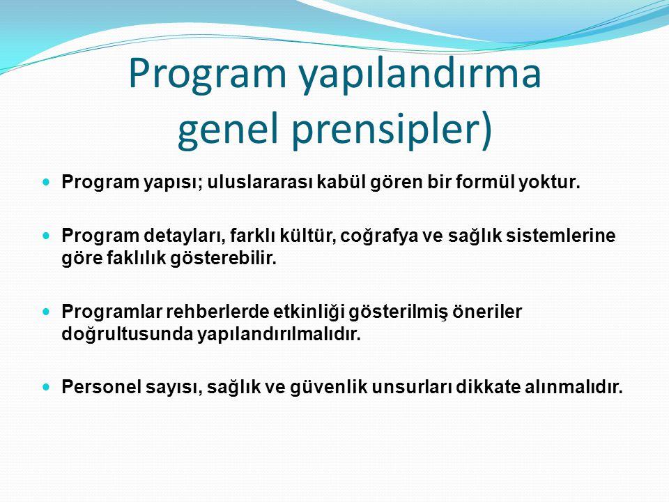 Program yapılandırma genel prensipler) Program yapısı; uluslararası kabül gören bir formül yoktur. Program detayları, farklı kültür, coğrafya ve sağlı
