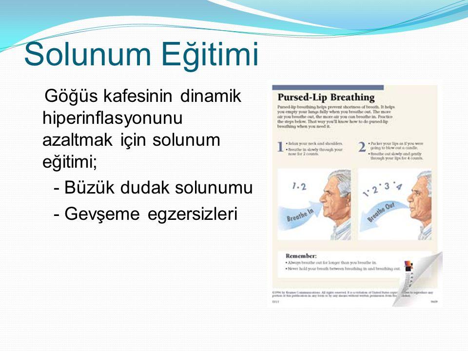 Solunum Eğitimi Göğüs kafesinin dinamik hiperinflasyonunu azaltmak için solunum eğitimi; - Büzük dudak solunumu - Gevşeme egzersizleri