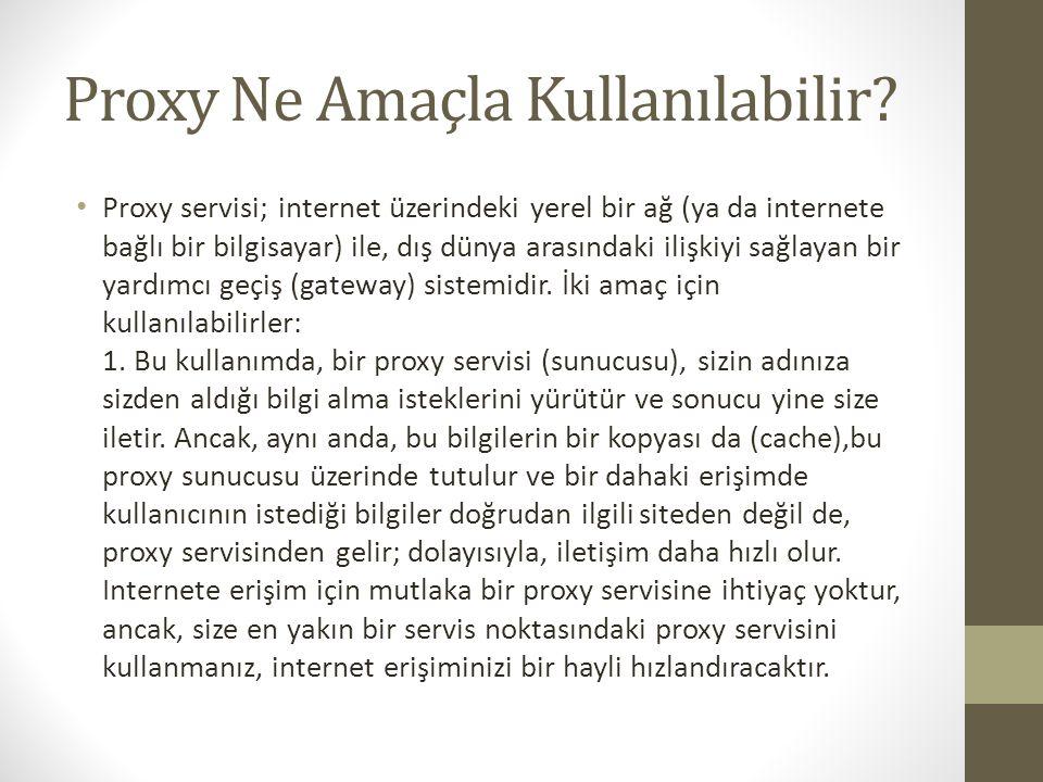 Proxy Ne Amaçla Kullanılabilir? Proxy servisi; internet üzerindeki yerel bir ağ (ya da internete bağlı bir bilgisayar) ile, dış dünya arasındaki ilişk