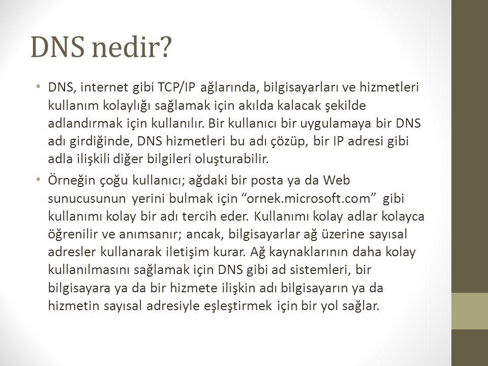 DNS nedir? DNS, internet gibi TCP/IP ağlarında, bilgisayarları ve hizmetleri kullanım kolaylığı sağlamak için akılda kalacak şekilde adlandırmak için