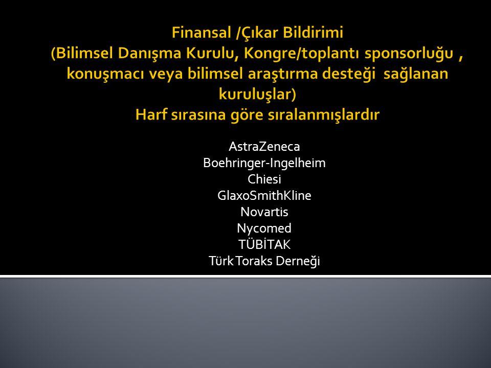 AstraZeneca Boehringer-Ingelheim Chiesi GlaxoSmithKline Novartis Nycomed TÜBİTAK Türk Toraks Derneği