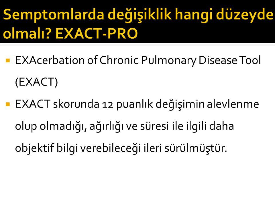  EXAcerbation of Chronic Pulmonary Disease Tool (EXACT)  EXACT skorunda 12 puanlık değişimin alevlenme olup olmadığı, ağırlığı ve süresi ile ilgili