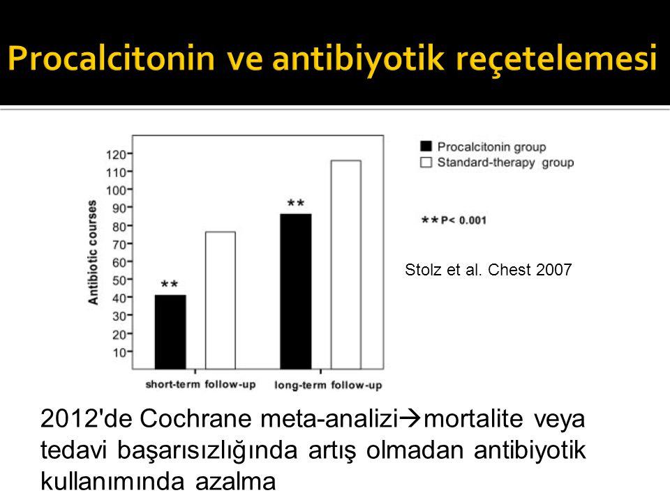 Stolz et al. Chest 2007 2012'de Cochrane meta-analizi  mortalite veya tedavi başarısızlığında artış olmadan antibiyotik kullanımında azalma