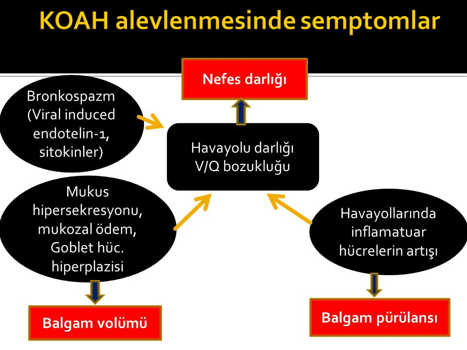 Hava akımı kısıtlılığı Dinamik hiperinflasyon Düşük PaO2 Yüksek PaCO2 Düşük pH Yüksek veya normal HCO3 Alveolar dakika ventilasyonunda azalma V/Q bozukluğu Gaz değişiminde bozulma Solunum yetersizliği Kardiyak etkiler RV ve LV preload azalması RV afterload artışı KOAH Alevlenmesi