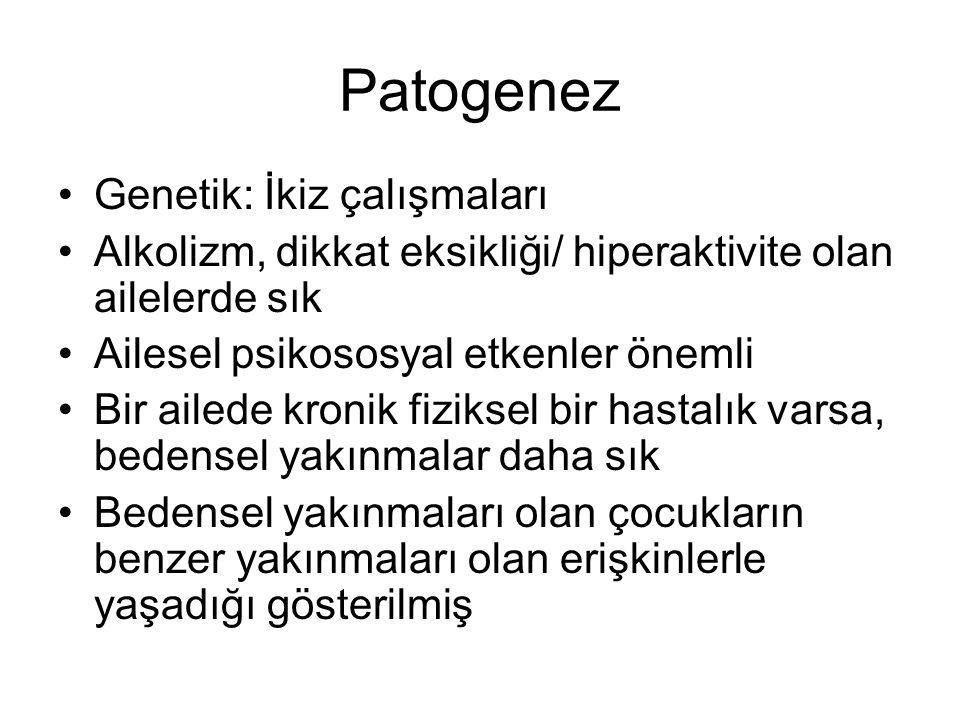 Patogenez Genetik: İkiz çalışmaları Alkolizm, dikkat eksikliği/ hiperaktivite olan ailelerde sık Ailesel psikososyal etkenler önemli Bir ailede kronik