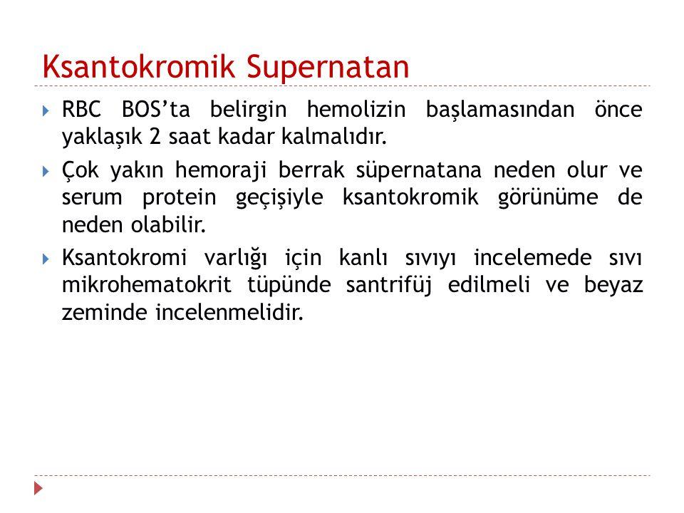 Ksantokromik Supernatan  RBC BOS'ta belirgin hemolizin başlamasından önce yaklaşık 2 saat kadar kalmalıdır.