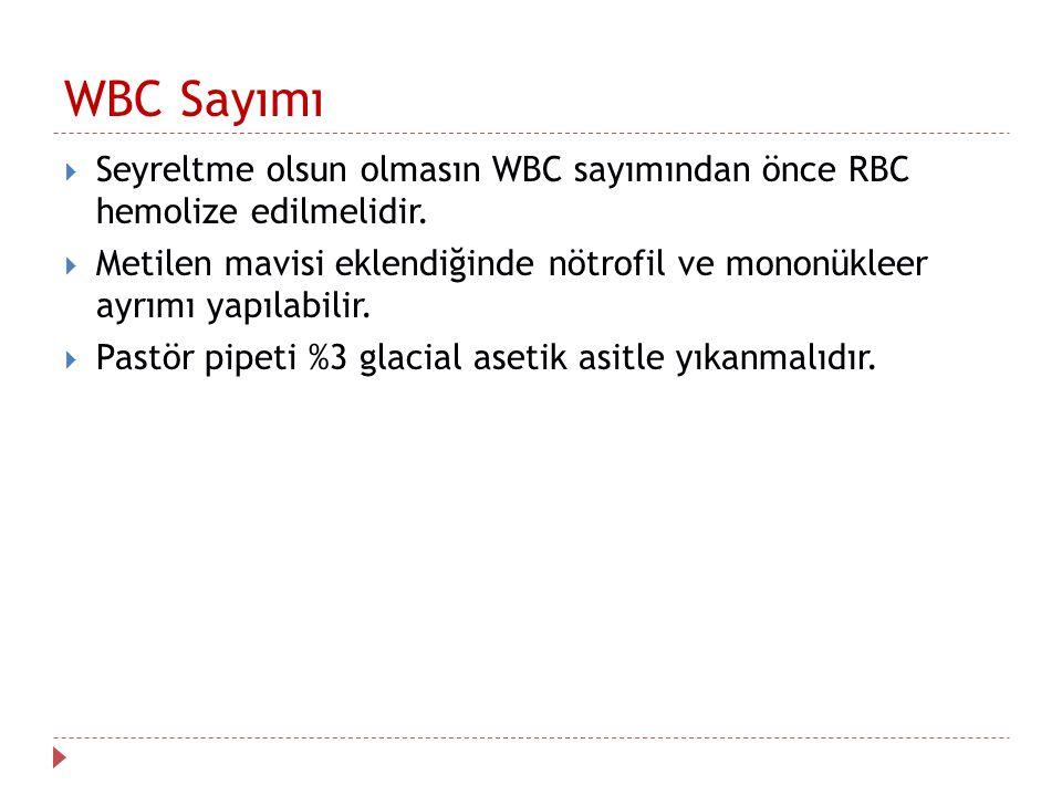 WBC Sayımı  Seyreltme olsun olmasın WBC sayımından önce RBC hemolize edilmelidir.