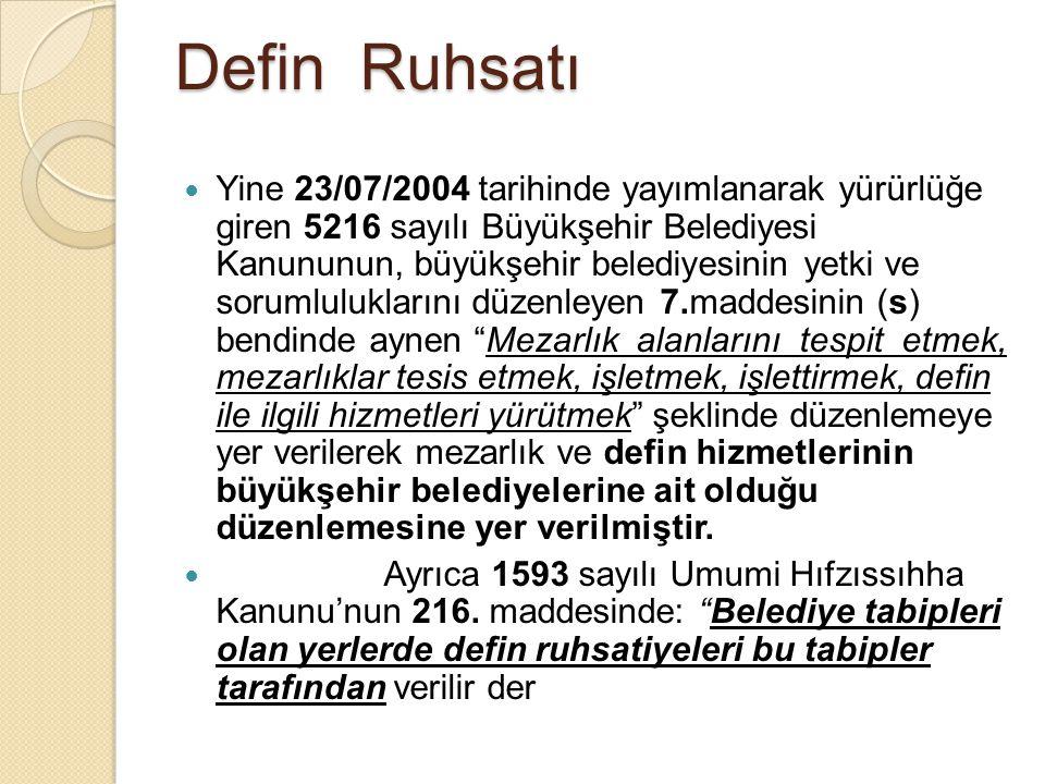 Defin Ruhsatı Yine 23/07/2004 tarihinde yayımlanarak yürürlüğe giren 5216 sayılı Büyükşehir Belediyesi Kanununun, büyükşehir belediyesinin yetki ve so