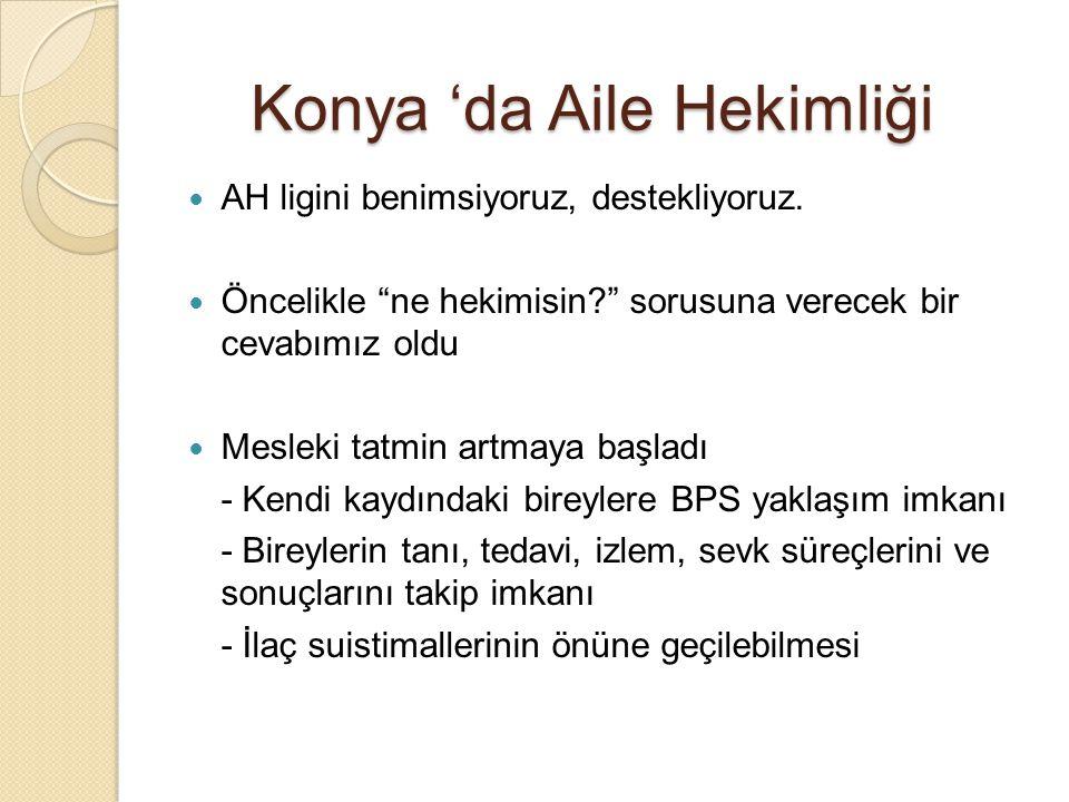 """Konya 'da Aile Hekimliği AH ligini benimsiyoruz, destekliyoruz. Öncelikle """"ne hekimisin?"""" sorusuna verecek bir cevabımız oldu Mesleki tatmin artmaya b"""