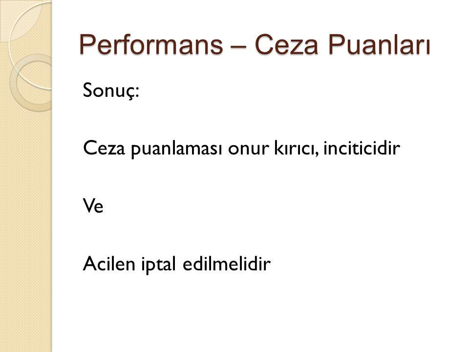 Performans – Ceza Puanları Sonuç: Ceza puanlaması onur kırıcı, inciticidir Ve Acilen iptal edilmelidir