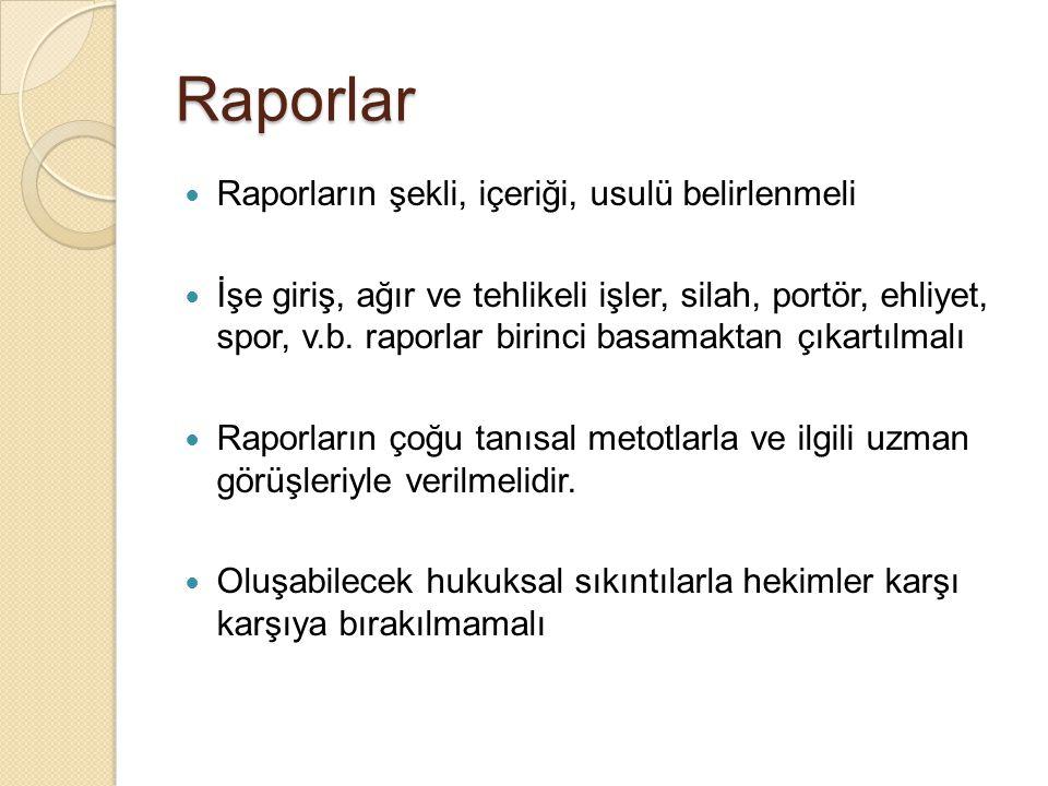 Raporlar Raporların şekli, içeriği, usulü belirlenmeli İşe giriş, ağır ve tehlikeli işler, silah, portör, ehliyet, spor, v.b. raporlar birinci basamak