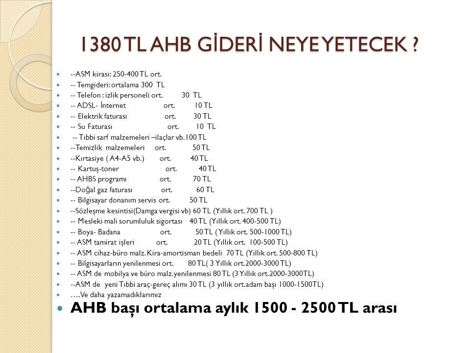 1380 TL AHB G İ DER İ NEYE YETECEK ? --ASM kirası: 250-400 TL ort. -- Temgideri: ortalama 300 TL -- Telefon : izlik personeli ort. 30 TL -- ADSL- İ nt