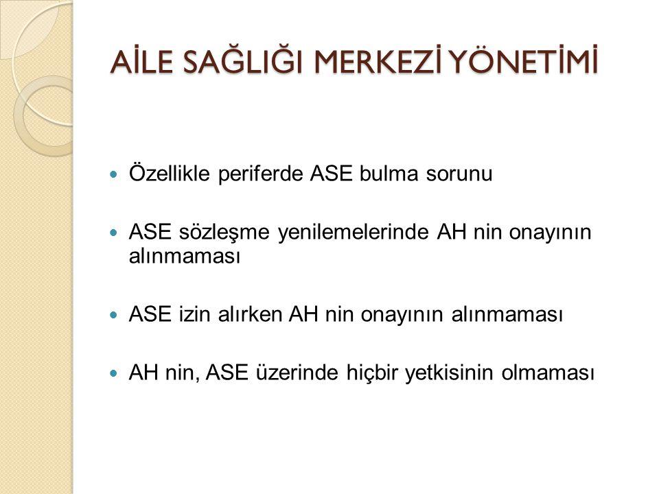 A İ LE SA Ğ LI Ğ I MERKEZ İ YÖNET İ M İ Özellikle periferde ASE bulma sorunu ASE sözleşme yenilemelerinde AH nin onayının alınmaması ASE izin alırken