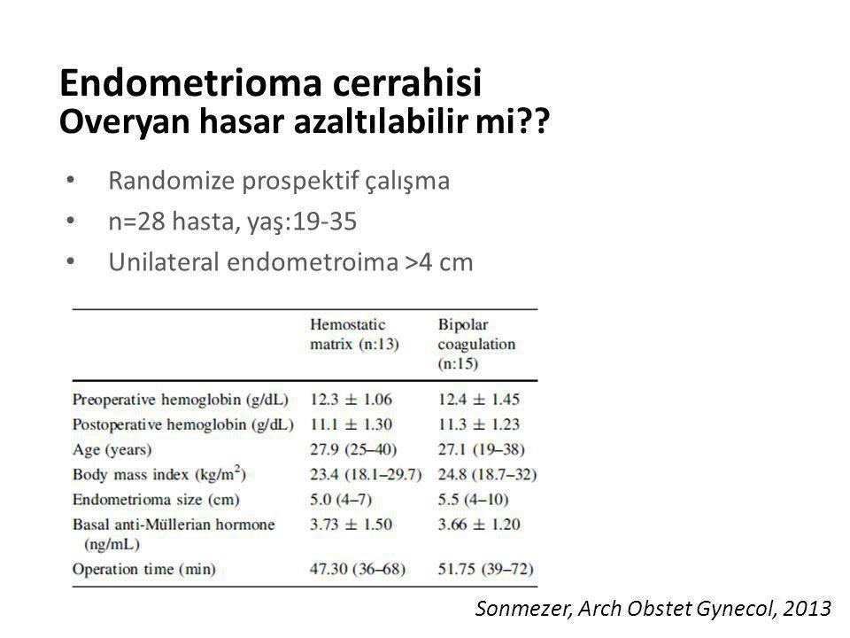 Randomize prospektif çalışma n=28 hasta, yaş:19-35 Unilateral endometroima >4 cm Endometrioma cerrahisi Overyan hasar azaltılabilir mi?? Sonmezer, Arc