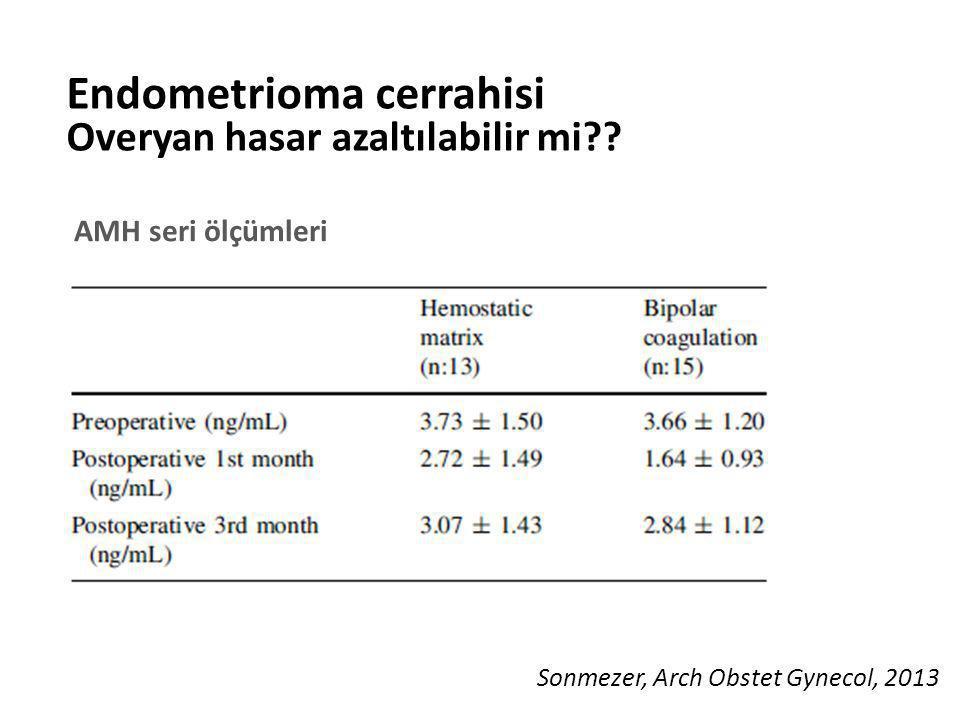 Endometrioma cerrahisi Overyan hasar azaltılabilir mi?? AMH seri ölçümleri Sonmezer, Arch Obstet Gynecol, 2013