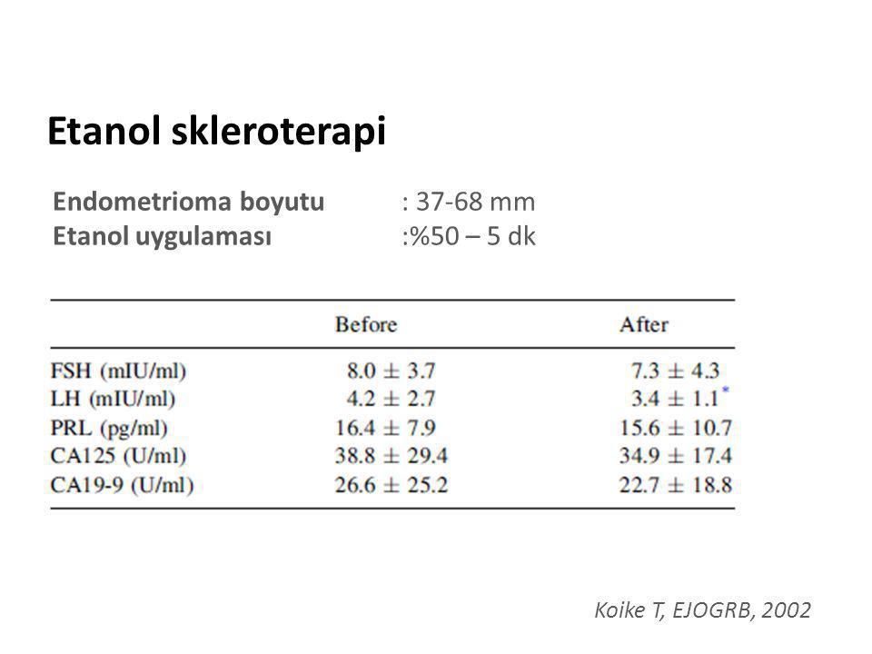 Etanol skleroterapi Koike T, EJOGRB, 2002 Endometrioma boyutu : 37-68 mm Etanol uygulaması:%50 – 5 dk