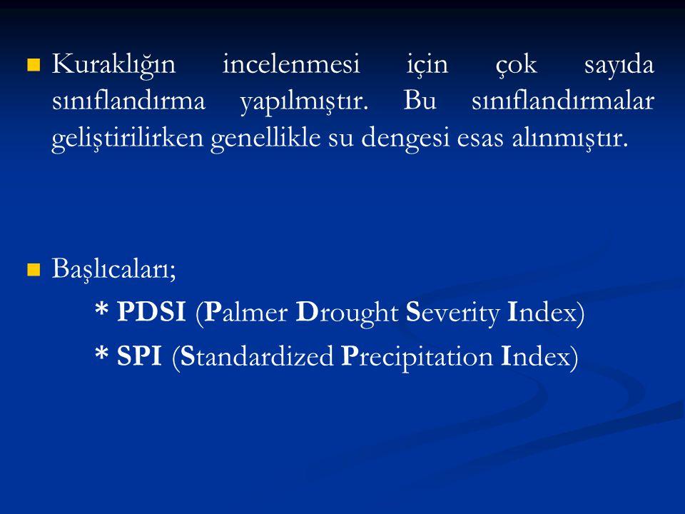 SPI (Standardized Precipitation Index) * 1993 McKee ve arkadaşları * Sadece yağış değerlerini kullanır * 1,3,6,12, 24, 48 ay gibi zaman dilimlerinde kuraklık izlenebilir.