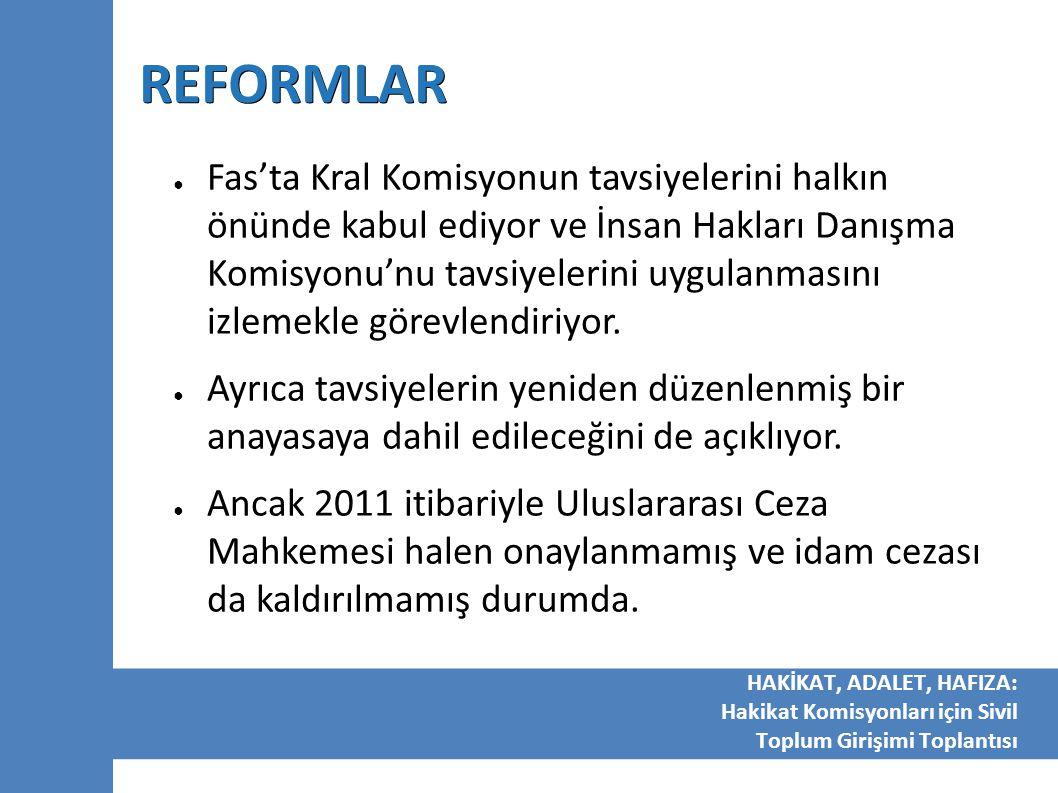 REFORMLAR ● Fas'ta Kral Komisyonun tavsiyelerini halkın önünde kabul ediyor ve İnsan Hakları Danışma Komisyonu'nu tavsiyelerini uygulanmasını izlemekl