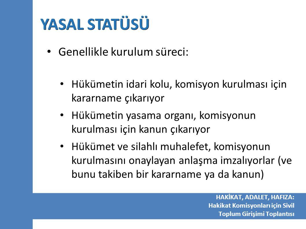 YASAL STATÜSÜ Genellikle kurulum süreci: Hükümetin idari kolu, komisyon kurulması için kararname çıkarıyor Hükümetin yasama organı, komisyonun kurulma