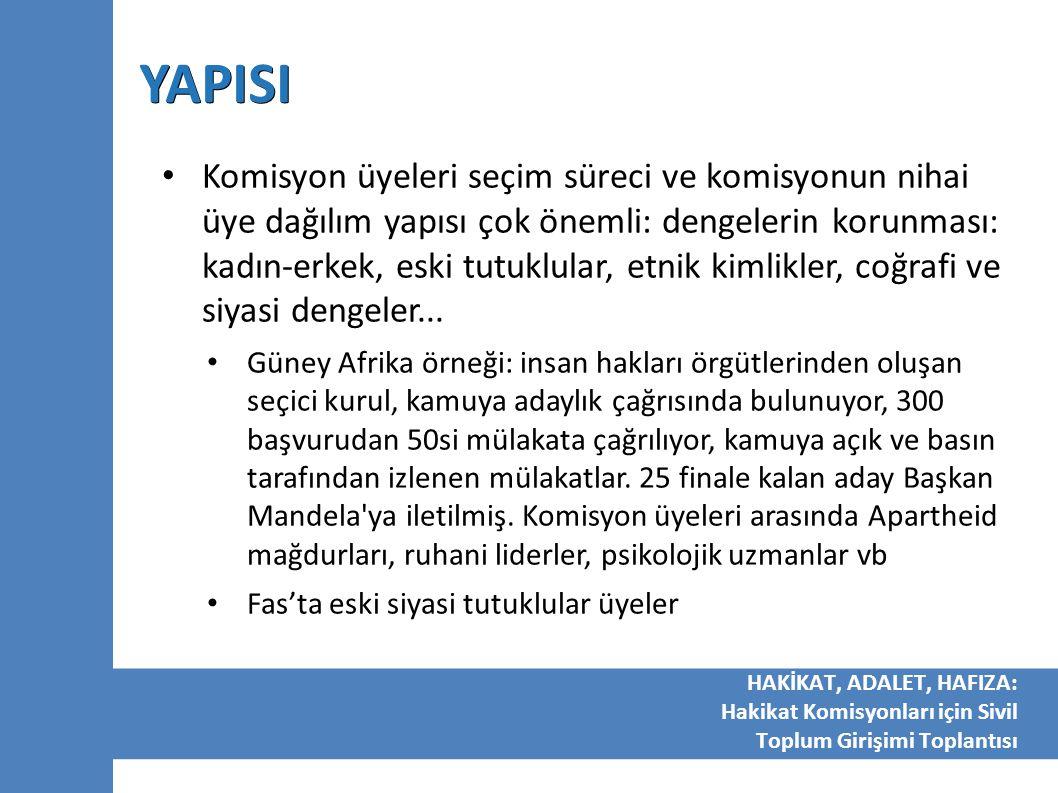 YAPISI Komisyon üyeleri seçim süreci ve komisyonun nihai üye dağılım yapısı çok önemli: dengelerin korunması: kadın-erkek, eski tutuklular, etnik kiml
