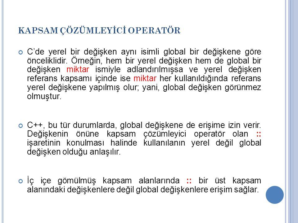 KAPSAM ÇÖZÜMLEYİCİ OPERATÖR C'de yerel bir değişken aynı isimli global bir değişkene göre önceliklidir.