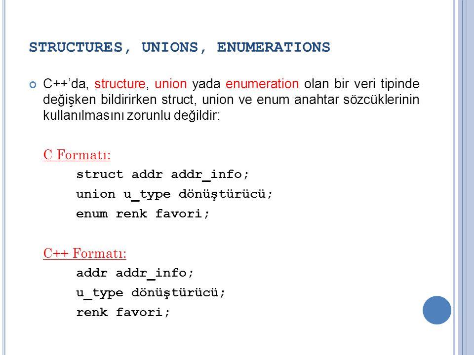 STRUCTURES, UNIONS, ENUMERATIONS C++'da, structure, union yada enumeration olan bir veri tipinde değişken bildirirken struct, union ve enum anahtar sözcüklerinin kullanılmasını zorunlu değildir: C Formatı: struct addr addr_info; union u_type dönüştürücü; enum renk favori; C++ Formatı: addr addr_info; u_type dönüştürücü; renk favori;