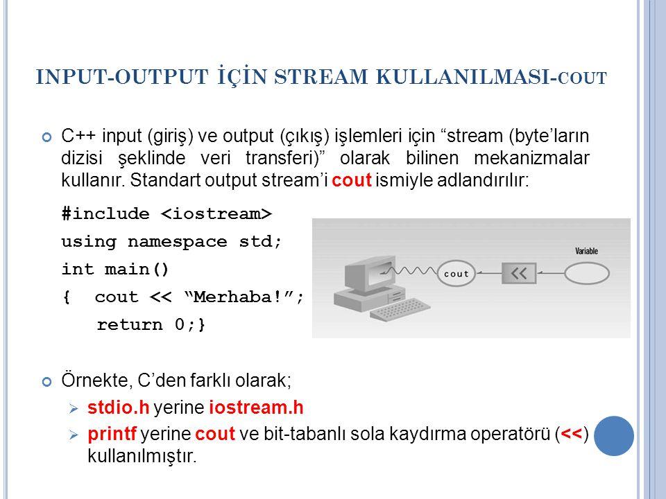 INPUT-OUTPUT İÇİN STREAM KULLANILMASI- COUT C++ input (giriş) ve output (çıkış) işlemleri için stream (byte'ların dizisi şeklinde veri transferi) olarak bilinen mekanizmalar kullanır.