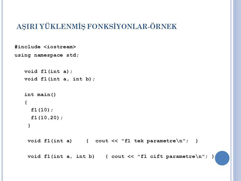 AŞIRI YÜKLENMİŞ FONKSİYONLAR-ÖRNEK #include using namespace std; void f1(int a); void f1(int a, int b); int main() { f1(10); f1(10,20); } void f1(int a) { cout << f1 tek parametre\n ; } void f1(int a, int b) { cout << f1 cift parametre\n ; }