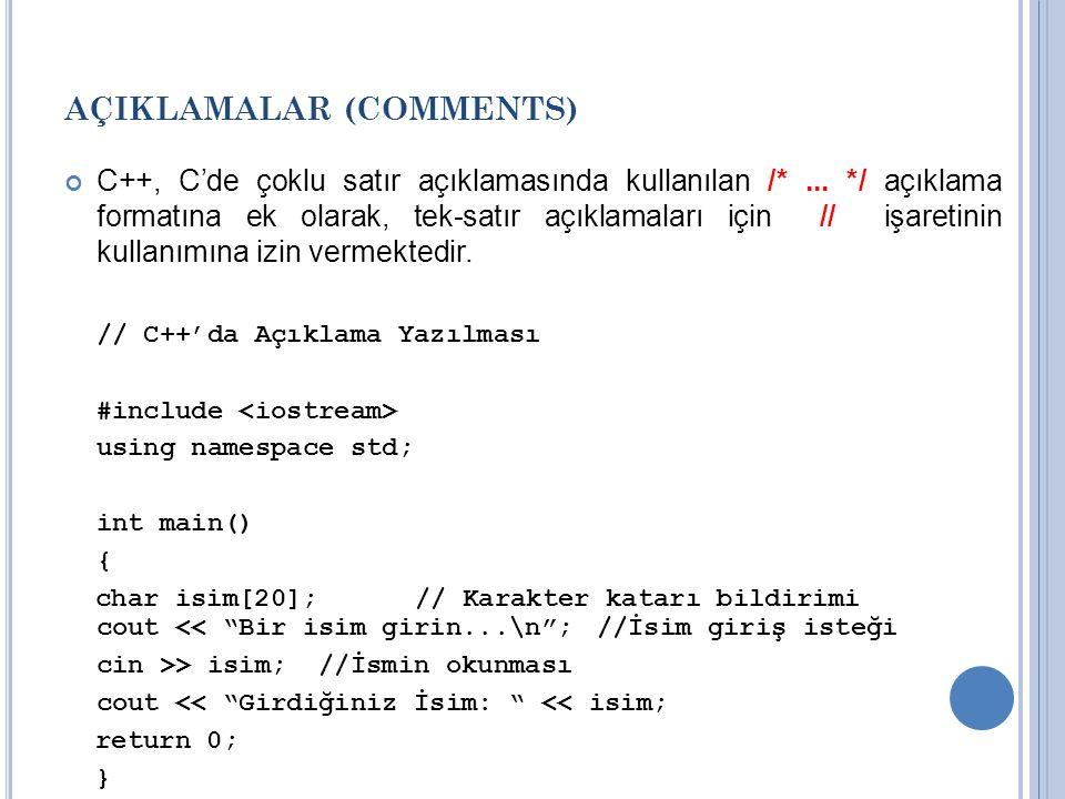 AÇIKLAMALAR (COMMENTS) C++, C'de çoklu satır açıklamasında kullanılan /*... */ açıklama formatına ek olarak, tek-satır açıklamaları için // işaretinin