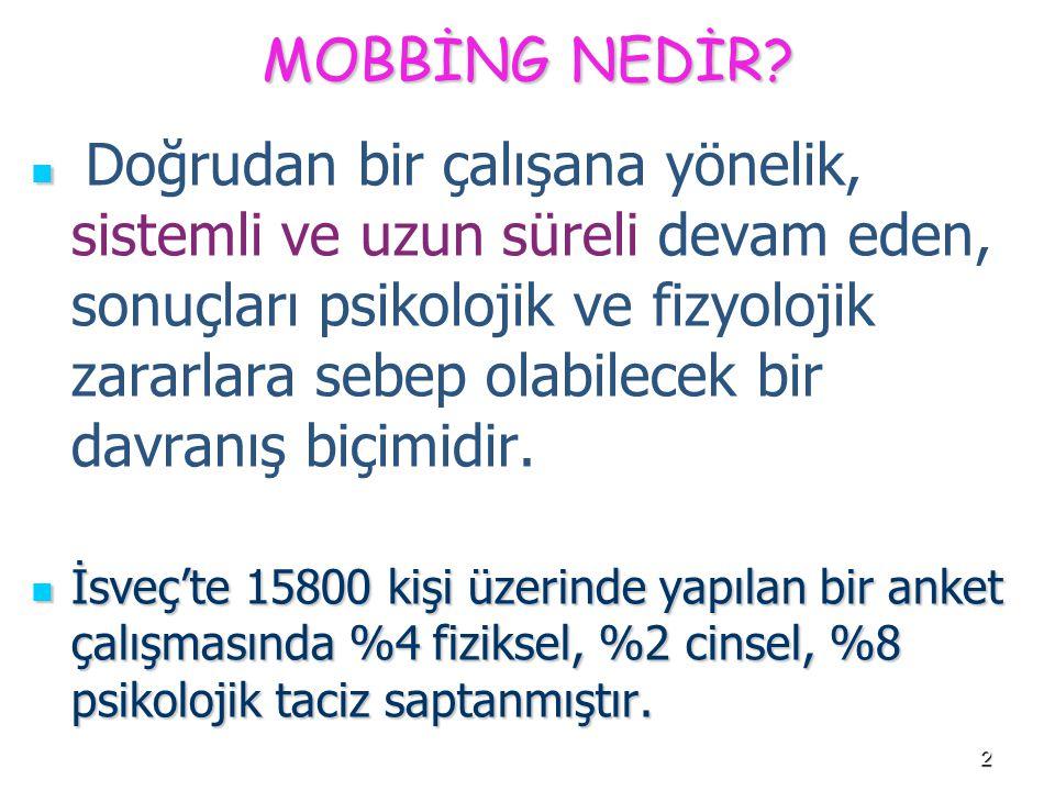 33 Mobbing, örgütlerde bulaşıcı hastalık gibidir.