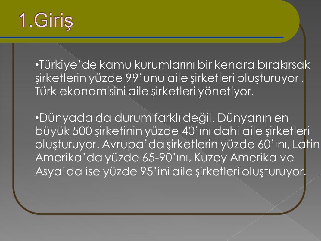 Türkiye'de kamu kurumlarını bir kenara bırakırsak şirketlerin yüzde 99'unu aile şirketleri oluşturuyor. Türk ekonomisini aile şirketleri yönetiyor. Dü